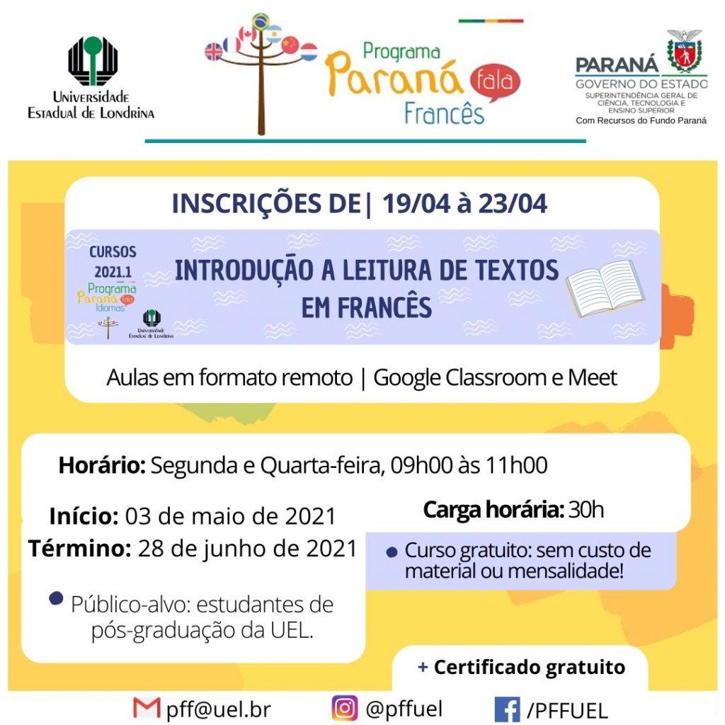 Abertas Inscricoes Para Curso Sobre Leitura De Textos Academicos Do Parana Fala Frances O Perobal